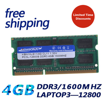 KEMBONA 1.35 V DDR3L 1600 PC3-12800 DDR3 1 600mhz PC3L-12800 Non-ECC 4GB SO-DIMM Atminties Modulis) Ram Memoria Laptop / Notebook